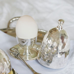 Silver Hammered Egg Cup Set - egg cups & cosies