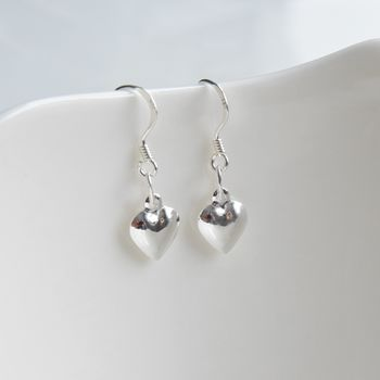 Sterling Silver Handmade Heart Drop Earrings