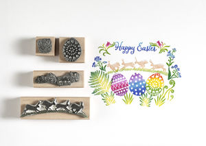 Set Of Three Egg Stamps And Bunnies Border