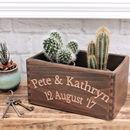 Personalised Carved Beech Box Crate with Potted Cacti (not included)