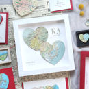 In Love Since Two Map Hearts Personalised Print