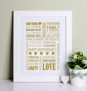 Golden Wedding Anniversary Print - 50th anniversary: gold