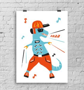 Dino Mad Open Edition Heavyweight A3 Print - baby's room