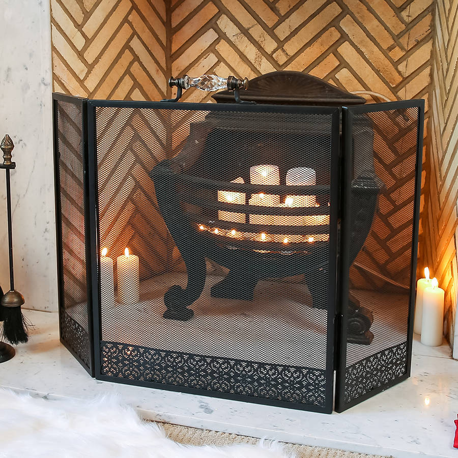glass handled black mesh fire screen by dibor notonthehighstreet com