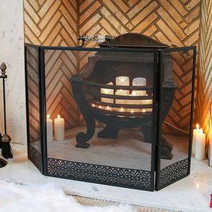Glass Handled Black Mesh Fire Screen - home accessories
