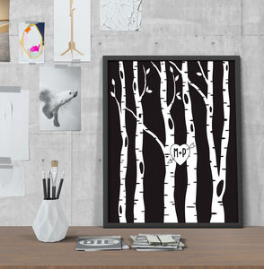 Personalised Illustrated Tree Love Wedding Print - canvas prints & art
