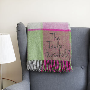 Personalised Pink Check Wool Throw