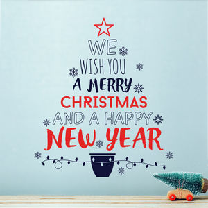We Wish You A Merry Christmas Tree Wall Decal Sticker