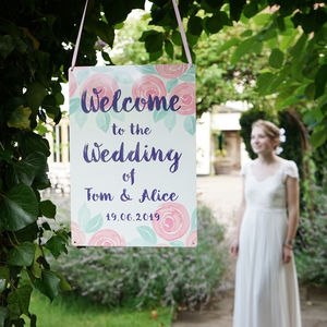 Personalised Rose Wedding Welcome Sign - hanging decorations