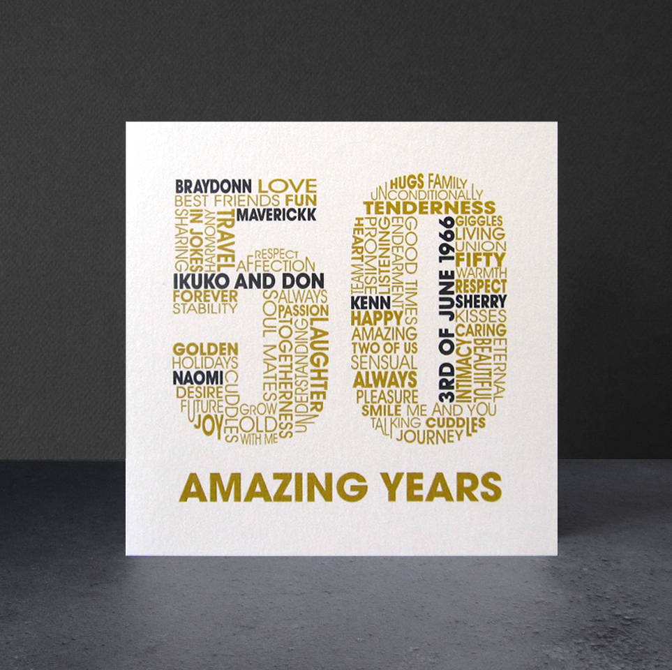 Personalised golden wedding anniversary card by mrs l