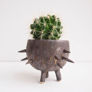 Handmade Gold Textural Spiky Cactus Planter - pots & planters