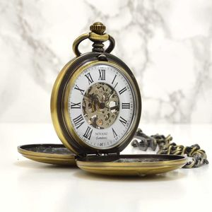Engraved Bronze Pocket Watch Twin Opening - mens