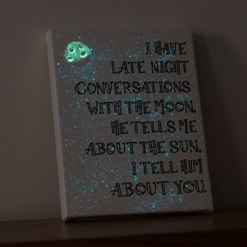 'Conversations With The Moon' Glow In The Dark Canvas