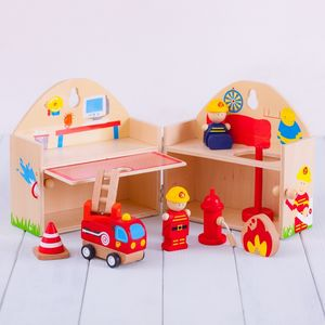Personalised Wooden Fire Station Playset - play scenes