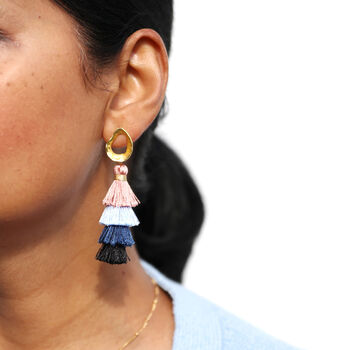 Triple Layer Tassel Earrings In Pink And Blue