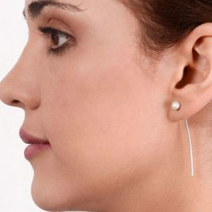 Long Pearl Through The Ear Sterling Silver Earrings