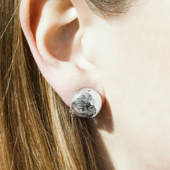 Silver Textured Clip On Ball Earrings