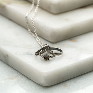 Vintage Inspired Engagement Ring Charm Necklace