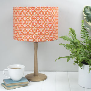 Alta Lampshade, Bright Orange Geometric Pattern - bedroom