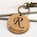 Personalised Initial Wooden Keyring