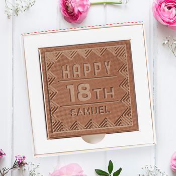 Personalised 18th 'Name And Number' Chocolate Card