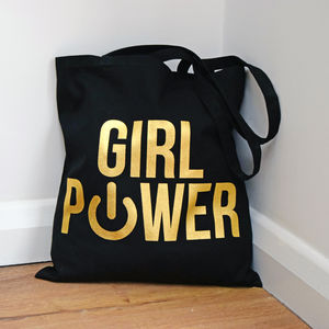 Gold Foiled 'Girl Power' Tote Bag