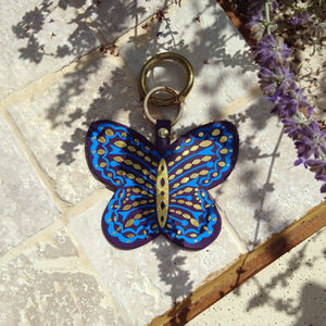 Butterfly Leather Bag Charm And Keyring