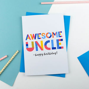 Awesome Uncle All Purpose Personalised Card - thank you cards