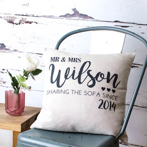 Personalised 'Sharing Sofa' Cushion Cover - 4th anniversary: linen
