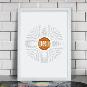 Personalised 18th Birthday Record Print