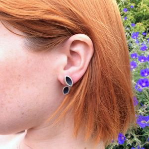 Oxidised Silver Stud Hanging Earrings