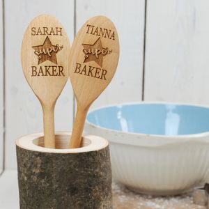 Personalised Superstar Baker Wooden Spoon - kitchen