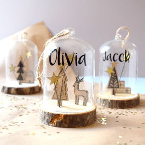 Personalised Wooden Snow Globe Bauble - decorative accessories