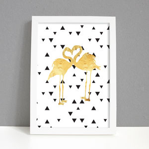 'Loved Up' Flamingo Gold Foil Monochrome Print - posters & prints