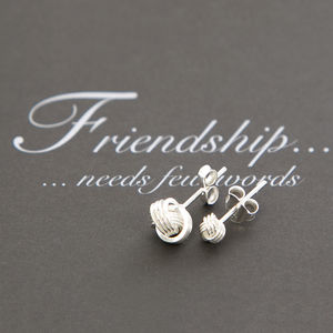 Friendship Knot Sterling Silver Small Earrings - summer sale