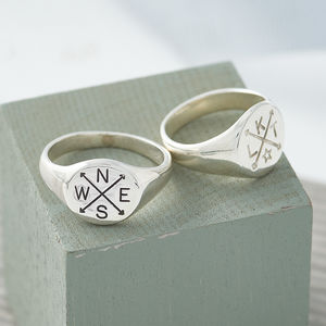 Family Initials Engraved Silver Signet Ring - rings