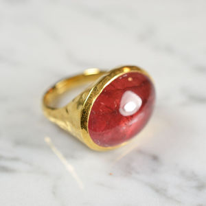 Strawberry Pink Tourmaline Cocktail Ring - rings