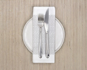Monochrome Chevron Design Napkin Or Placemat - dining room
