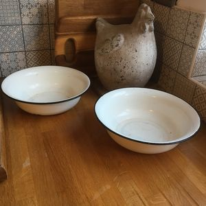 Two Vintage Enamel Bowls - kitchen