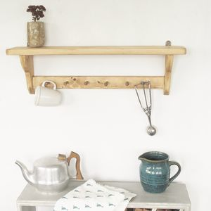 Country Cottage Shelf With Wooden Pegs