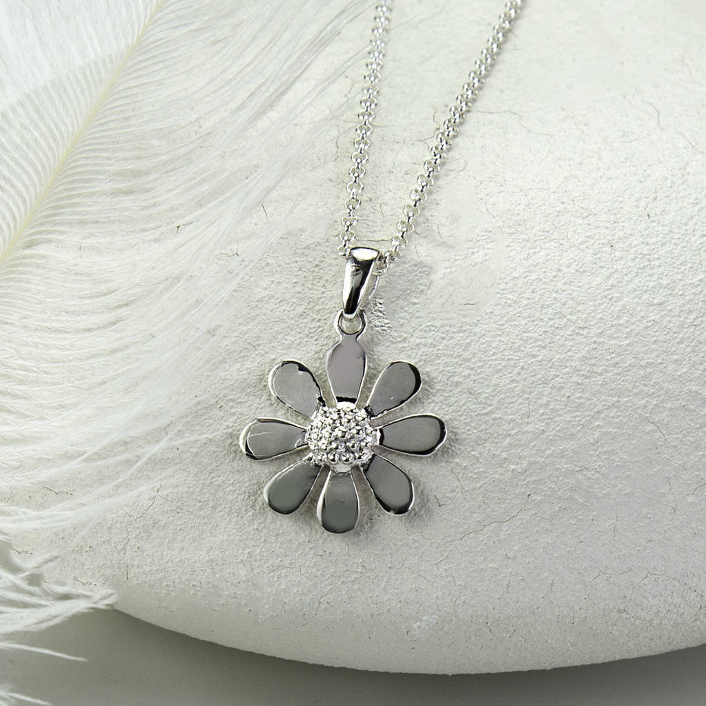 products itp silver necklace daisy pink jewellery in the pendant