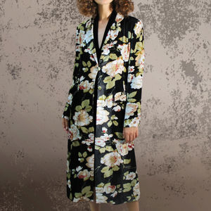 1940s Rosegarden Print Velvet Coat - women's fashion