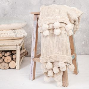 Taupe Pom Pom Throw With Silver Embroidery - blankets & throws