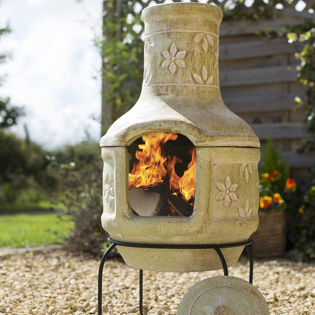 Pizza flowers clay chiminea patio heater with bbq by for Terracotta chiminea