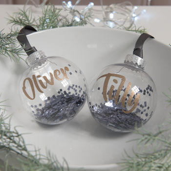 Personalised Graphite Glitter Christmas Bauble