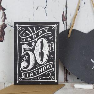 50th Chalkboard Birthday Card