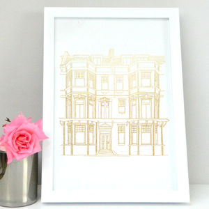 Personalised Anniversary House Portrait Print - prints & art