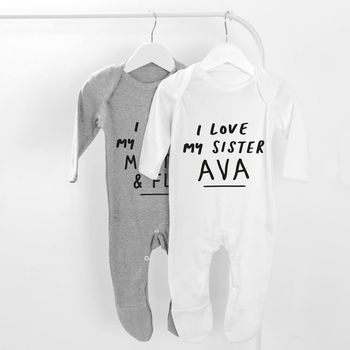 Personalised I Love My Sister Baby Grow