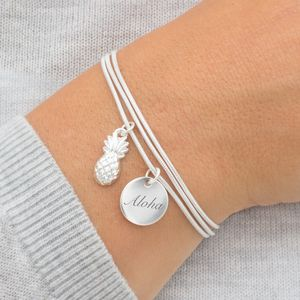 Ziva Silver Pineapple Personalised Bracelet