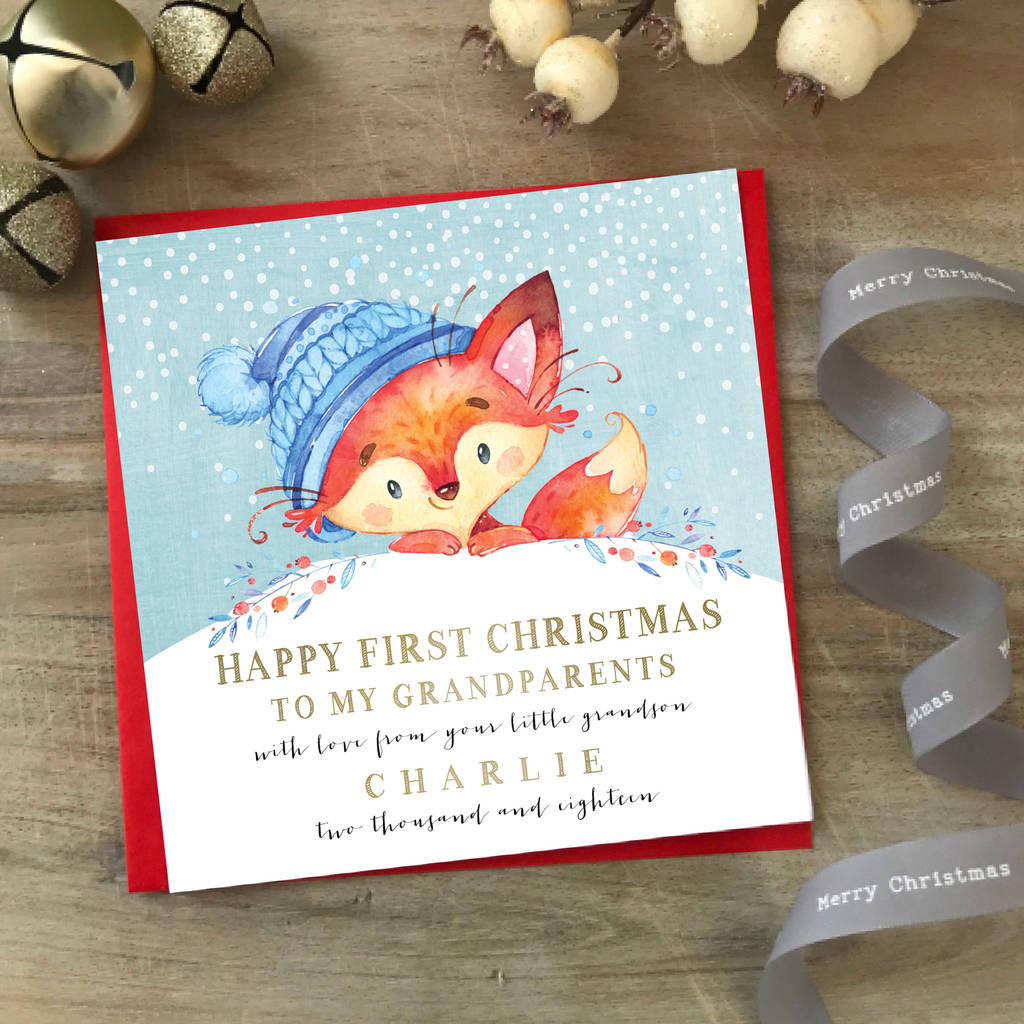 Personalised Baby's First Christmas Grandparents Card By